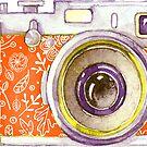 Orange Vintage Camera #redbubble  by Neli Dimitrova