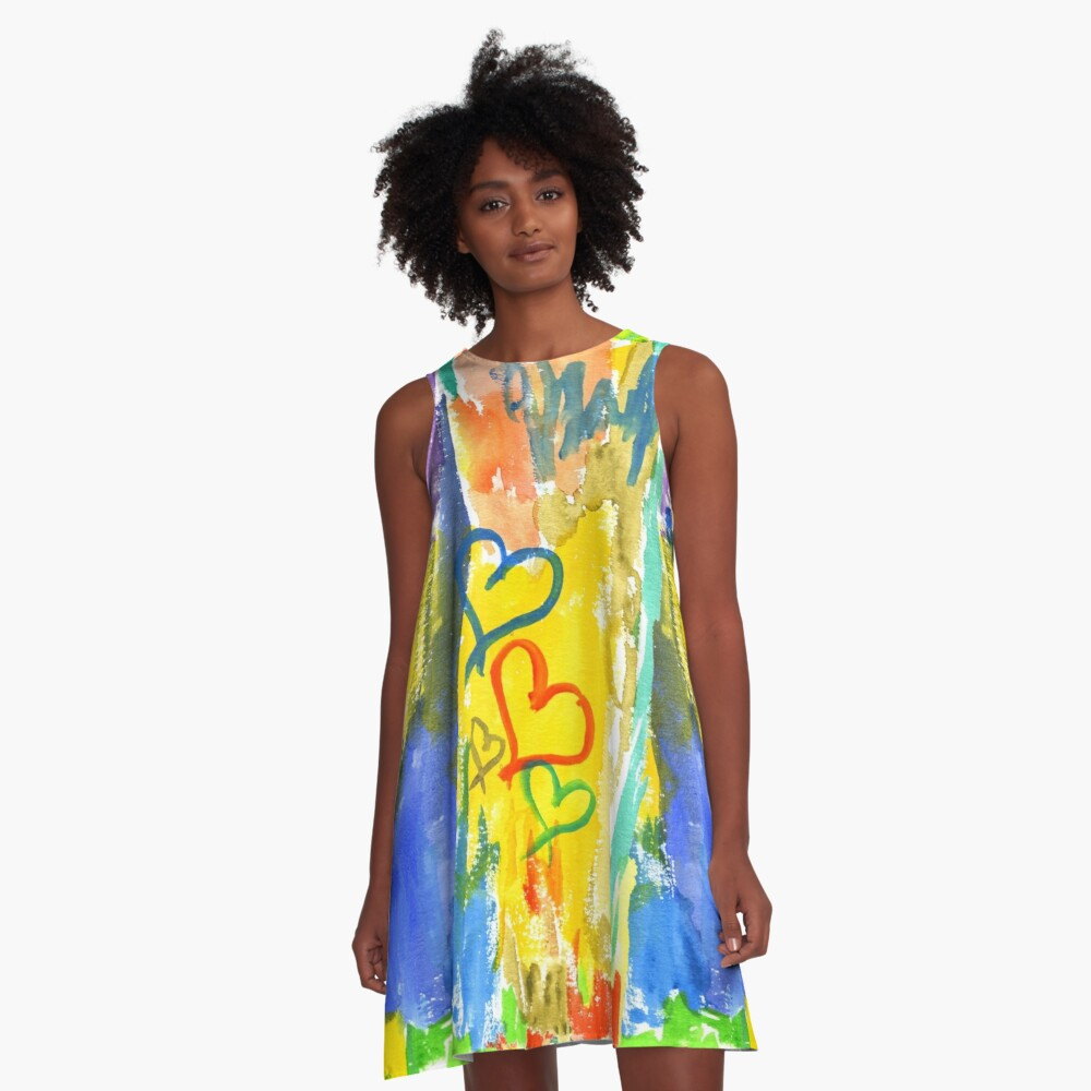 Watercolor Abstract Hearts Colorful Random Brushstrokes A-Line Dress Front