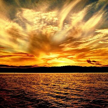 Gold Sky Flames Sunset. Photo Art, Prints, Gifts, and Apparel. by sunnypicsoz