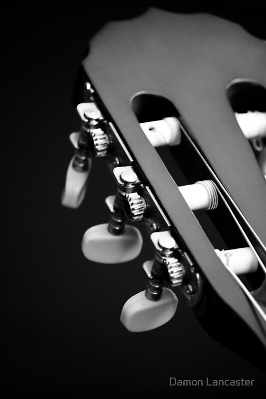 acoustic guitar head black and white by damon lancaster redbubble. Black Bedroom Furniture Sets. Home Design Ideas