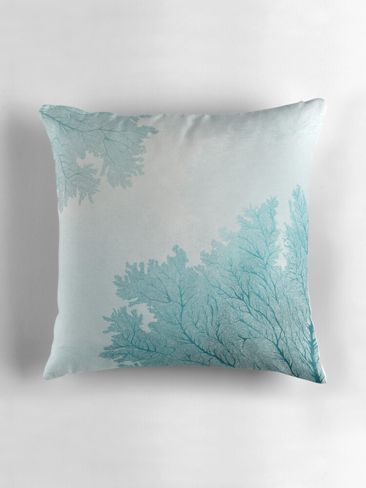 Blue Coral Throw Pillow :