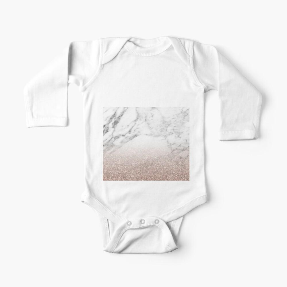 Rose Gold Glitter auf Marmor Baby Body