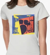 Drum Set Pop Art Womens Fitted T-Shirt