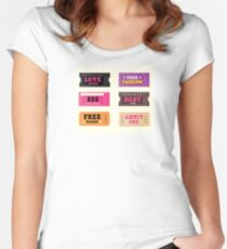 Love night tickets. Join crazy night party with collection of stylish retro tickets Women's Fitted Scoop T-Shirt