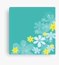 Blue retro flower texture. Retro flower design Canvas Print