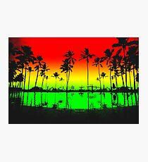 Rasta Colors Beach Silhouette Photographic Print