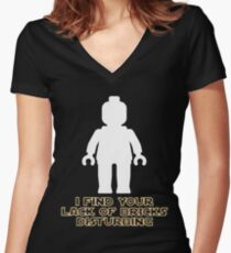 """""""I Find Your Lack of Bricks Disturbing"""" by Customize My Minifig Women's Fitted V-Neck T-Shirt"""