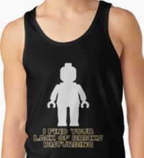 """""""I Find Your Lack of Bricks Disturbing"""" by Customize My Minifig Tank Top"""