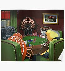 Spiders Playing Poker Poster