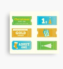 Blue and yellow retro cinema christmas tickets. Christmas shopping or entertainment Canvas Print