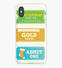 Blue and yellow retro cinema christmas tickets. Christmas shopping or entertainment iPhone Case