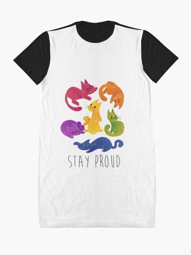 Alternate view of LGBT + PRIDE CATS Graphic T-Shirt Dress