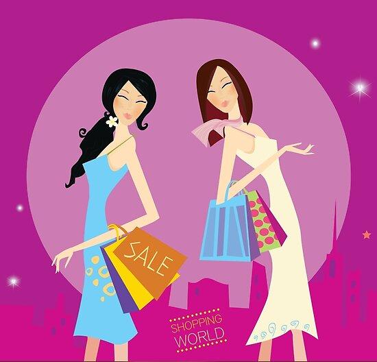 f23fea7bf24cc Dúo de compras. Chicas de compras en la ciudad. Ilustración de moda estilo  de vida