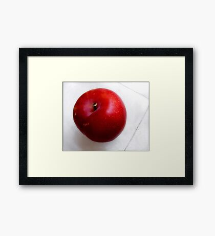 Red Plum on a White Cloth Framed Print
