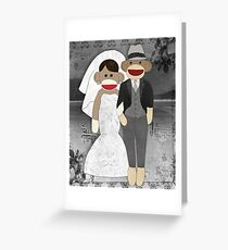 Sock Monkey Wedding Greeting Card