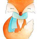 Cute fox cub whimsical winter watercolor art by Sarah Trett