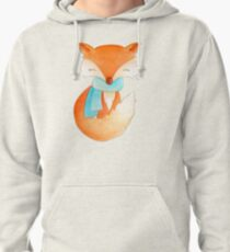 Cute fox cub whimsical winter watercolor art Pullover Hoodie