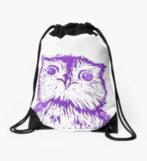 Little Purple Owl Drawstring Bag