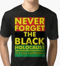 Never Forget the Black/African Holocaust RBG Tri-blend T-Shirt