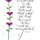Blessed is she handwritten inspirational quote  by Melissa Goza