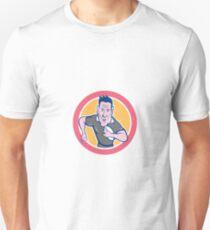 Rugby Player Running Charging Circle Cartoon Unisex T-Shirt