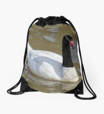 Black Necked Swan Drawstring Bag