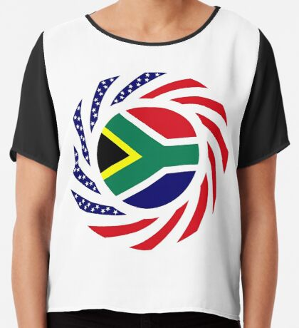 South African American Multinational Patriot Flag Series Chiffon Top