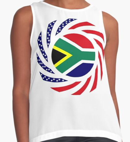 South African American Multinational Patriot Flag Series Sleeveless Top