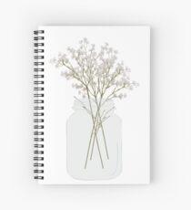 Baby's Breath in a Mason Jar Spiral Notebook