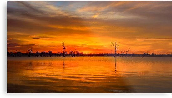 Flaming Lake Eppalock Sunset by sjphotocomau