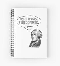 Alexander Hamilton hört Fives auf Spiralblock