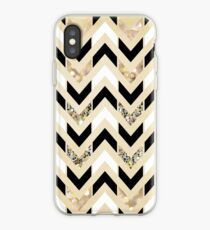 Black, White & Gold Glitter Herringbone Chevron on Nude Cream iPhone Case