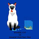 Siamese cat vs Siamese Fighting Fish by beerman70