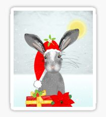 Cute Rabbit Christmas Holidays Themed Whimsy Design Sticker