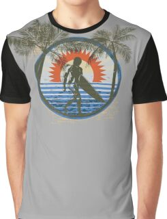 Life by the Beach - Surfing - Summer Sun and Palm Trees Graphic T-Shirt