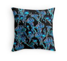 Jellyfish Electric Blue Throw Pillow