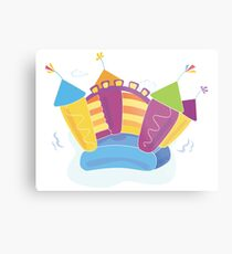 Vector bouncy castle. Vector Illustration of a bouncy castle with girl jumping on it Metal Print