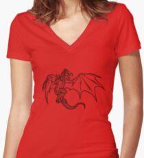 Skyrim Dragon Women's Fitted V-Neck T-Shirt
