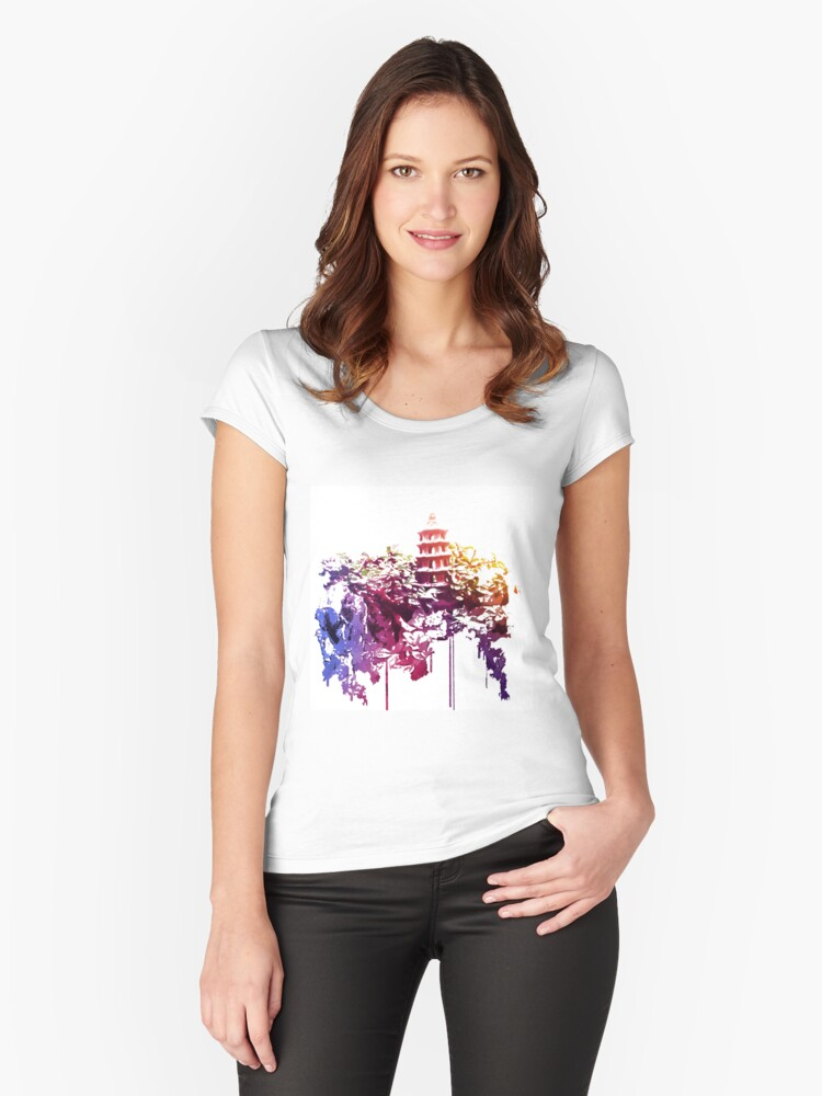 Tower in the Bonsai garden 1 Women's Fitted Scoop T-Shirt Front