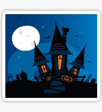 Haunted scary house. Old scary mansion. Illustration. Sticker