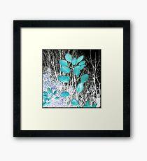 Turquoise Leaves Winter Night Framed Print