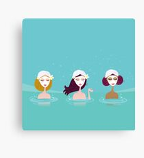 Three ladies in water spa. Beautiful ladies relaxing in water spa. Vector Illustration in retro style. Canvas Print