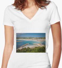 Marazion, Cornwall Women's Fitted V-Neck T-Shirt