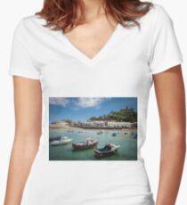 St Michaels Mount, Cornwall, UK Women's Fitted V-Neck T-Shirt