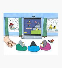 Penguins Playing Videogames Photographic Print