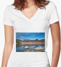 Blea Tarn, Cumbria, uk Women's Fitted V-Neck T-Shirt