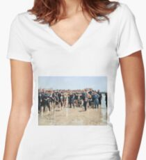 Smile for the camera!! Atlantic City, 1905 Fitted V-Neck T-Shirt