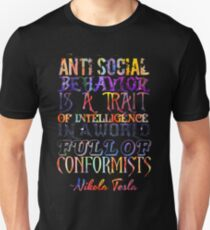 Watercolor-Anti Social Behavior, Nikola Tesla Quote Unisex T-Shirt