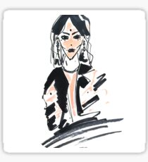 Fashion woman in sketch style with markers Sticker