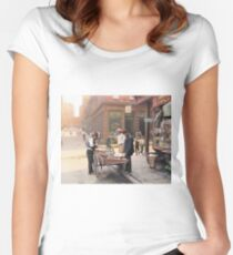 Clam seller on Mulberry Bend, New York, ca 1900 Women's Fitted Scoop T-Shirt